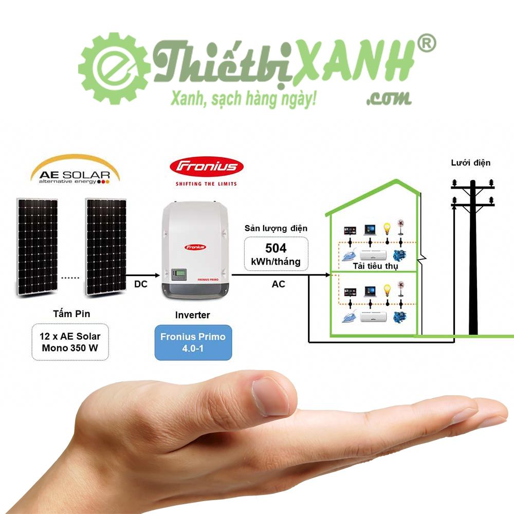 Hệ thống điện mặt trời hòa lưới 4,2 kW 01 pha