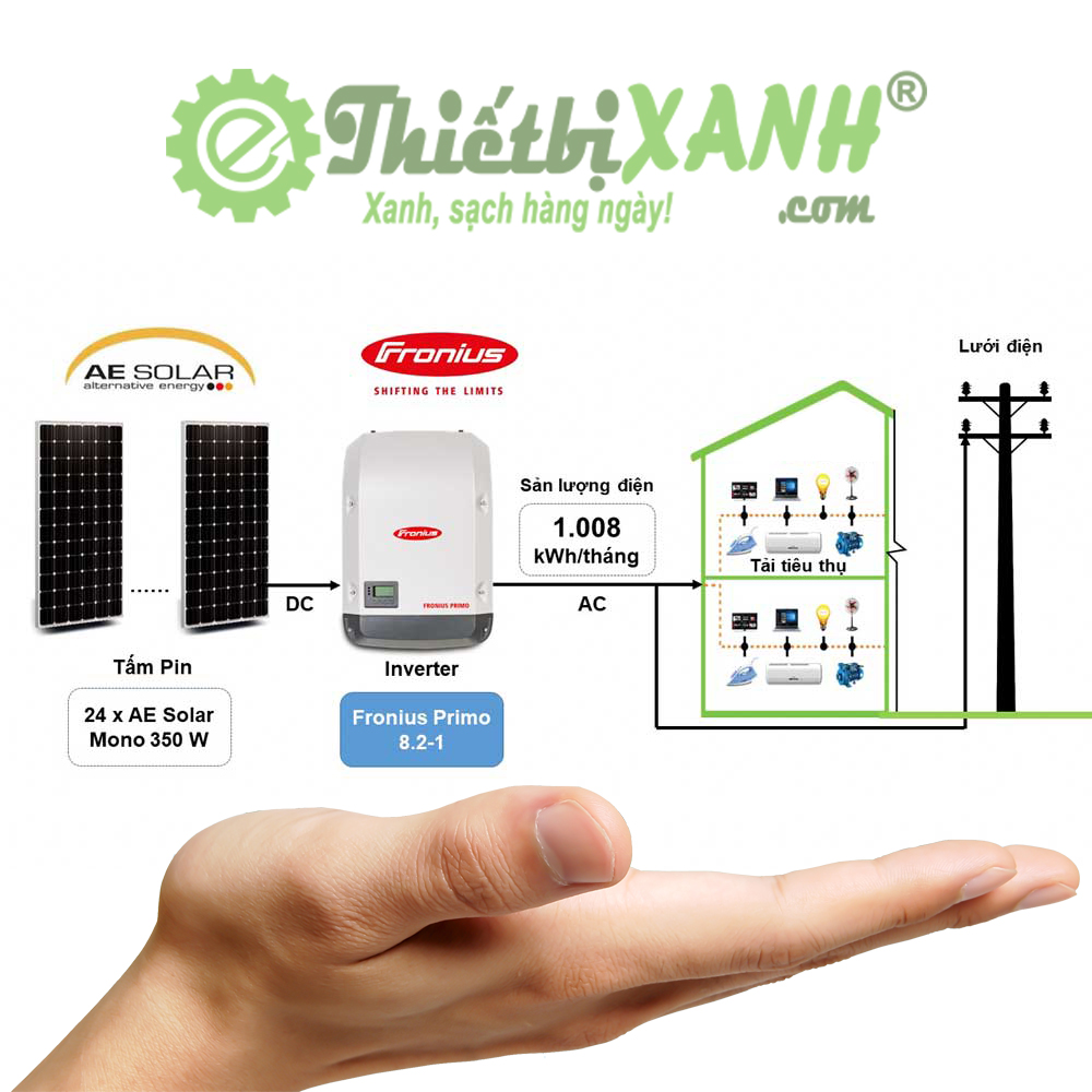 Hệ thống điện mặt trời hòa lưới 8,4 kW 01 pha